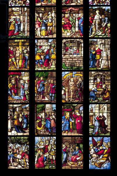 Stories of Saint Catherine of Alexandria (stained glass) (detail of 3619177)