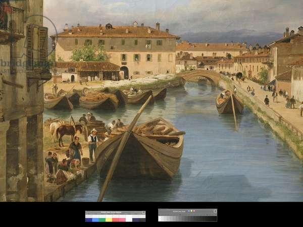 View of Naviglio Canal from the San Marco Bridge in Milan, 1834 (oil on canvas) (detail of 3497482)