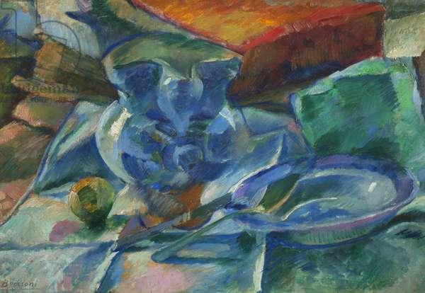 Natura morta di terraglie, posate e frutti, 1915