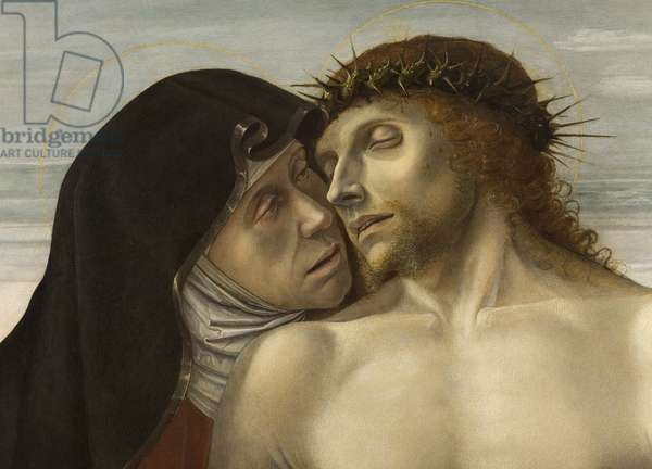 Pieta, or Dead Christ supported by the Virgin and St John, 1467-70 - DETAIL - Faces of the Dead Christ and the Virgin - Painting by Giovanni Bellini dit il Giambellino (1430-1516), 1465. Pinacoteca di Brera, Milan.