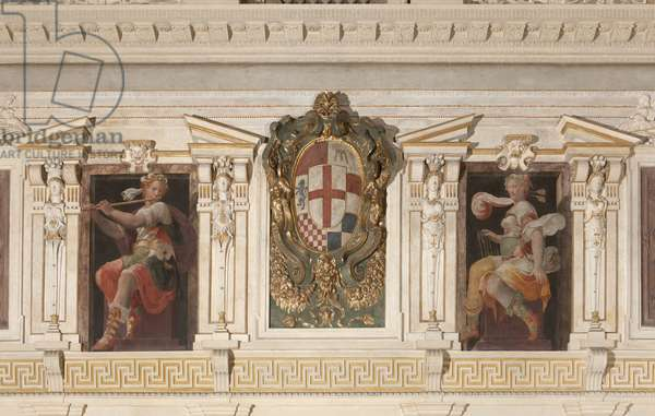 Allegorical Figures and coat of arms of Marino family