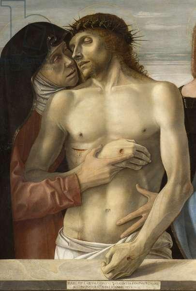 Pieta, or Dead Christ supported by the Virgin and St John, 1467-70 - DETAILE - The Dead Christ supported by the Virgin - Painting by Giovanni Bellini dit il Giambellino (1430-1516), 1465. Pinacoteca di Brera, Milan.