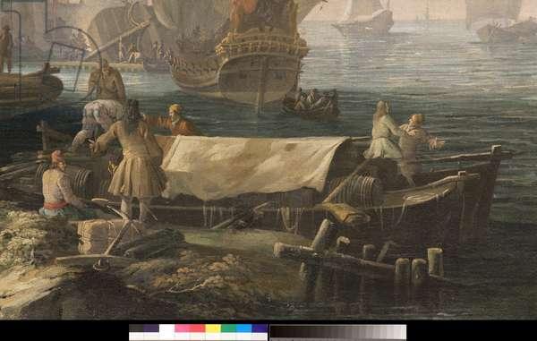 Capriccio (imaginary landscape) with scenes of life in a port city