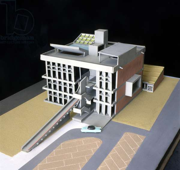 Model of the Millowners Association building by Le Corbusier at Ahmedabad in India