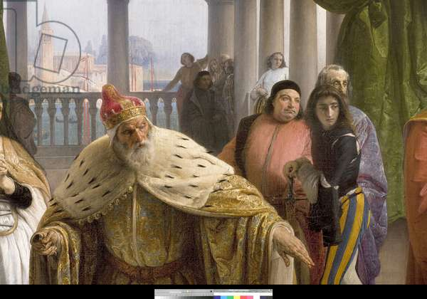 The last meeting between Jacopo Foscari and his family before being exiled, 1838-40 (oil on canvas)