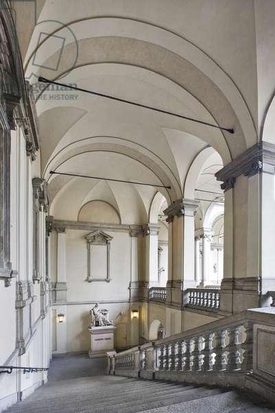 Right side staircase, Pinacoteca Courtyard, Palazzo Brera, Milan, Italy (photo)