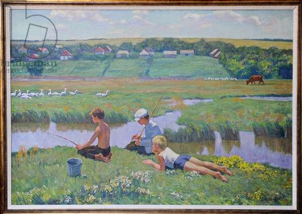 Three children (oil on canvas)