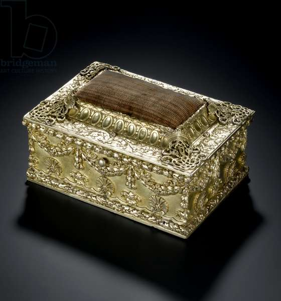 Silver-gilt rectangular casket with hinged lid with pin-cushion, from the Lennoxlove toilet service, owned by Frances Teresa Stewart, Duchess of Richmond and Lennox: French, Paris, 1664 - 1665 or 1668 - 1669 (A.1954.8 O)