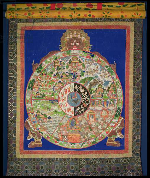 'Dharmachakra' Wheel of Life being turned by 'Yama' the Lord of Death, with scenes symbolising the twelves links which cause uncontrolled rebirth around the rim, Tibetan, 1780-1850
