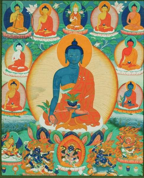 Thangka painting depicting the Baishajyaguru, Menla with seven other Medicine Buddhas, 1780-1880 (paper)