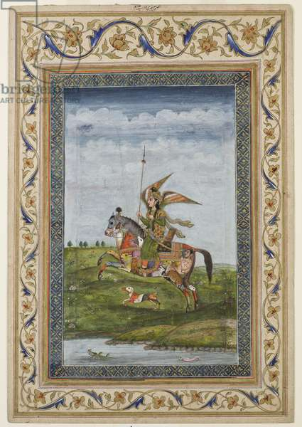 Miniature depicting a scene of a winged figure on a horse, probably Delhi school, Mughal, Indian, early 19th century (watercolour and gilding on paper)