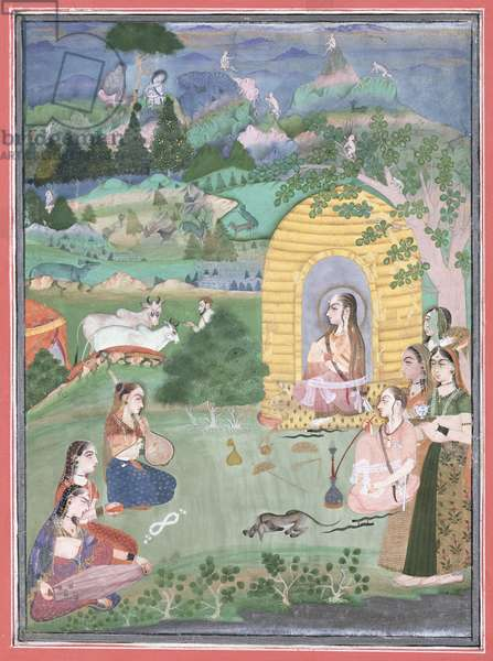 Miniature painting of a yogini in a landscape, Bikaner, 1680 (opaque mineral colours on white paper)