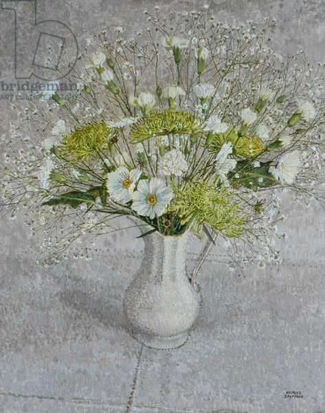 Still Life with Gypsophila, Carnation and Chrysanthemum (oil on linen on board)