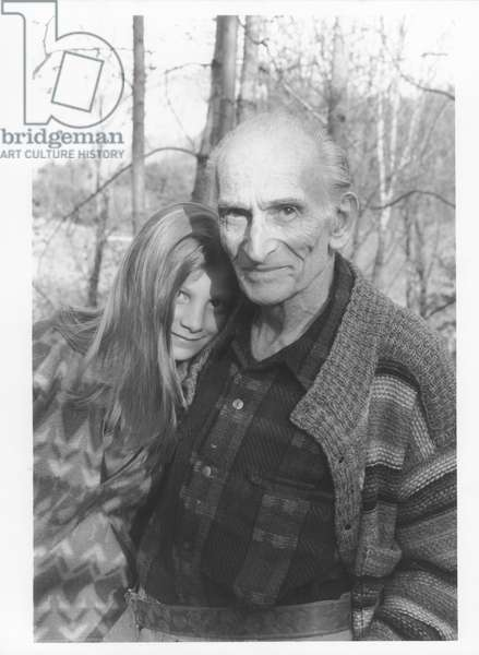 Balthus with a young girl in Rossiniere, 1994 (b/w photo)