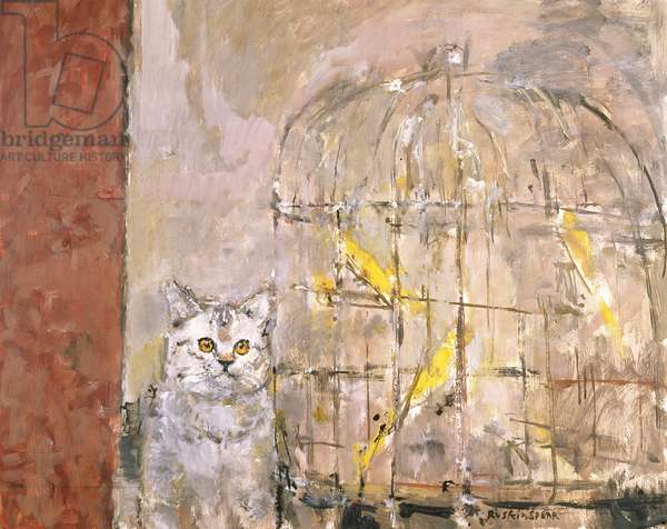 Cat and Canaries, late 1980's (oil on canvas)