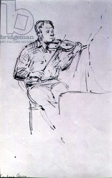 Sketch of Jose-Louis Garcia, Leader of the English Chamber Orchestra, c.1985 (pencil on paper)