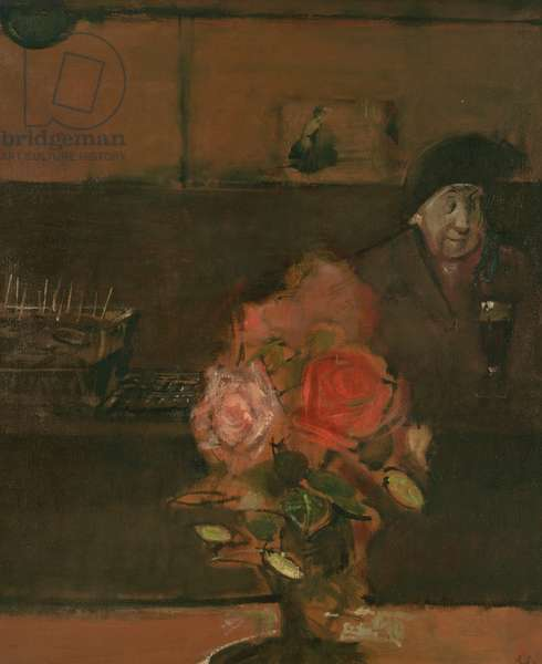 Woman and Rose, Maud Samuels (oil on canvas)
