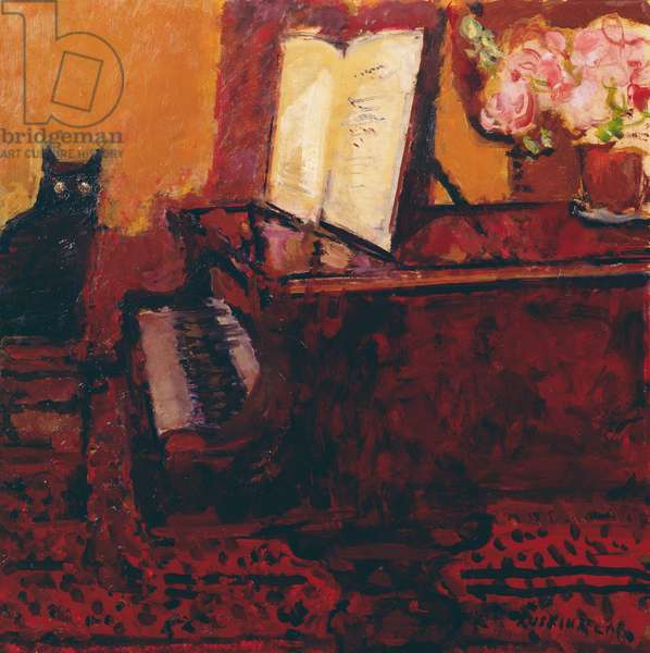 Susie and Piano, 1980s (oil on canvas)