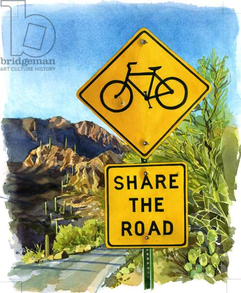 Share the Road, Gates Pass, 2004 (w/c on paper)
