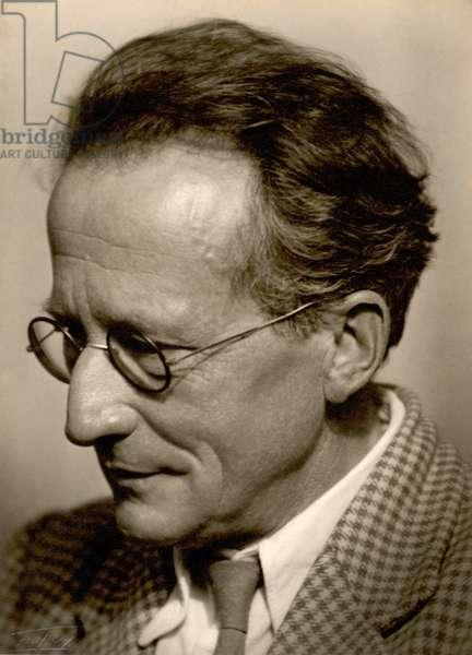 Professor Erwin Schrodinger (1887-1961) (b/w photo)