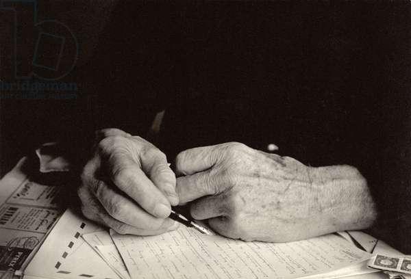 Albert Schweitzer's Hands (b/w photo)