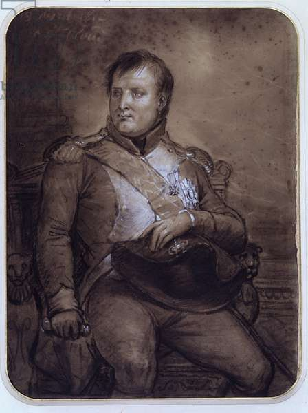 Napoleon I at Saint-Cloud, 1812 (gouache & white chalk)