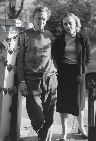 Matthew Spender with mother Natasha Spender (b/w photo)