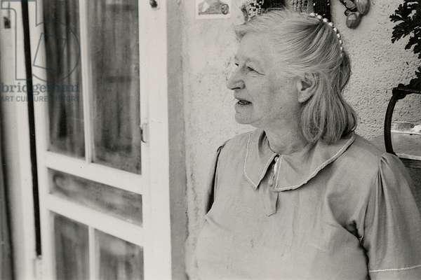 Frieda Lawrence in Taos, New Mexico, 1949 (b/w photo)