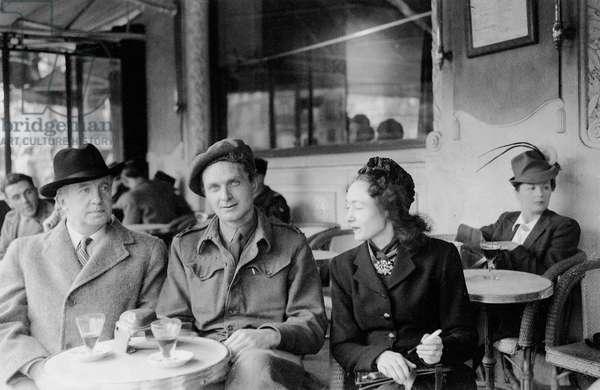 Paul and Nusch Éluard with Stephen Spender, Paris, 1945 (b/w photo)