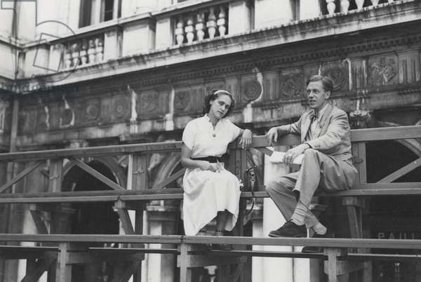 Natasha Spender and Cecil Day Lewis in Venice for the PEN Conference, 1949 (b/w photo)