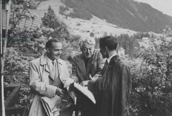 Samuel Barber, Nicolas Nabokov and Charles Turner[?], Gstaad, Sitzerland, c.1953 (b/w photo)
