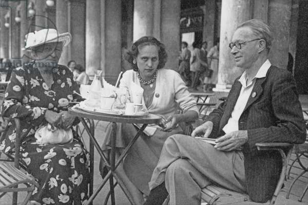 Willa Muir, Natasha Spender and Edwin Muir at the PEN Conference in Venice, sitting outside Caffe Florian in Piazza San Marco, 1949 (b/w photo)