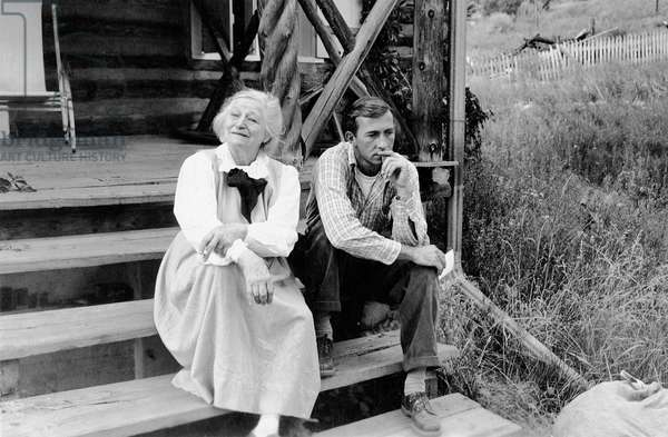Frieda Lawrence and William Goyen in Taos, New Mexico, 1949 (b/w photo)