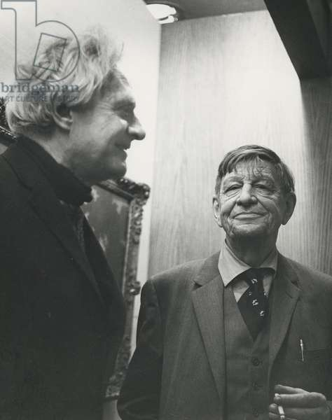 Stephen Spender and W.H. Auden at Spender's home, 15 Loudoun Road, London, c.1970 (b/w photo)
