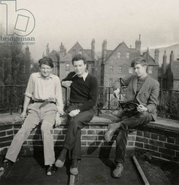 Lucian Freud, Tony Hyndman and John Craxton on the balcony of No.2 Maresfield Gardens, 1942 (b/w photo)