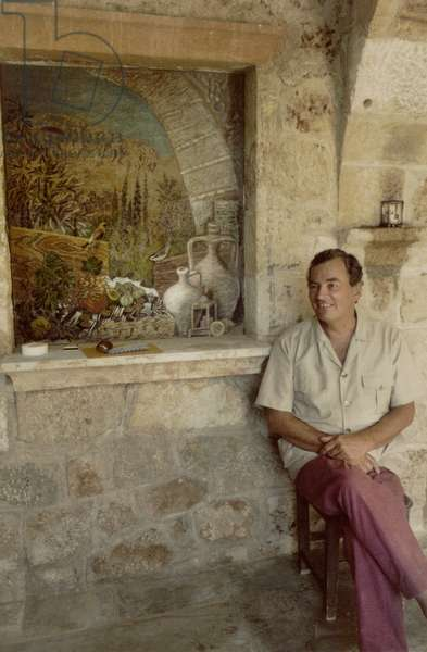 Patrick Leigh Fermor at his home in Kalamitsi, Kardamyli, Greece (photo)