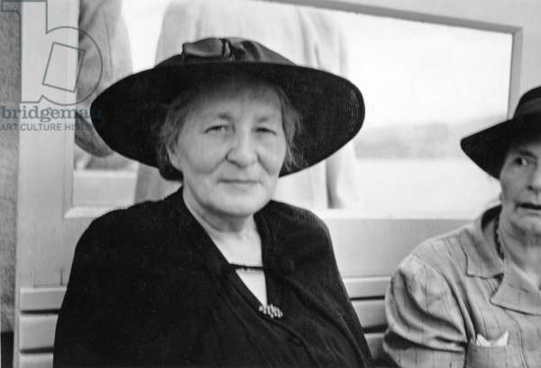 Willa Muir at the PEN Conference in Venice, on a boat to Torcello, 1949 (b/w photo)