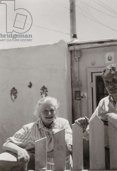 Frieda Lawrence and Stephen Spender in Taos, New Mexico, 1949 (b/w photo)