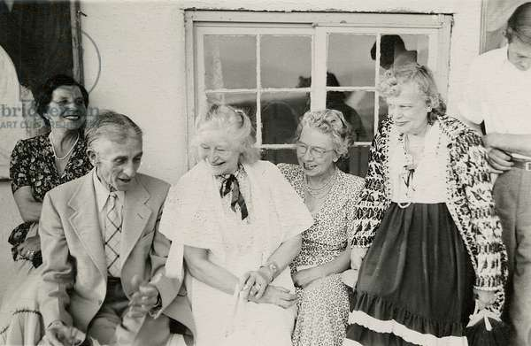 Frieda Lawrence and friends in Taos, New Mexico, 1949 (b/w photo)
