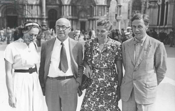 Natasha Spender, Count Vittorio Cini and Cecil Day-Lewis in Piazza San Marco for the PEN Conference in Venice, 1949 (b/w photo)
