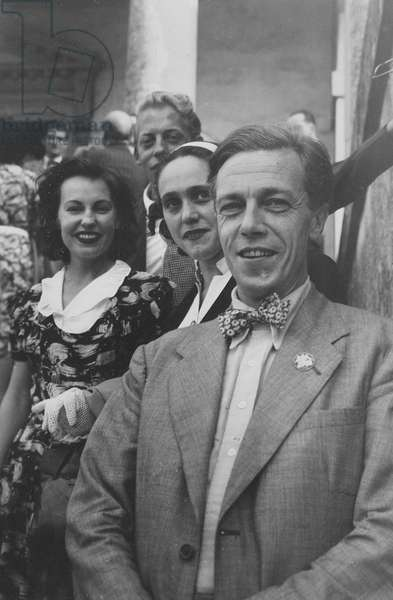 Cecil Day-Lewis, Natasha Spender and Chester Kallman in Venice for the PEN Conference, 1949 (b/w photo)