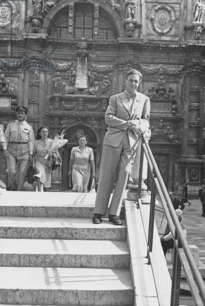 Cecil Day-Lewis in Venice for the PEN Conference, 1949 (b/w photo)