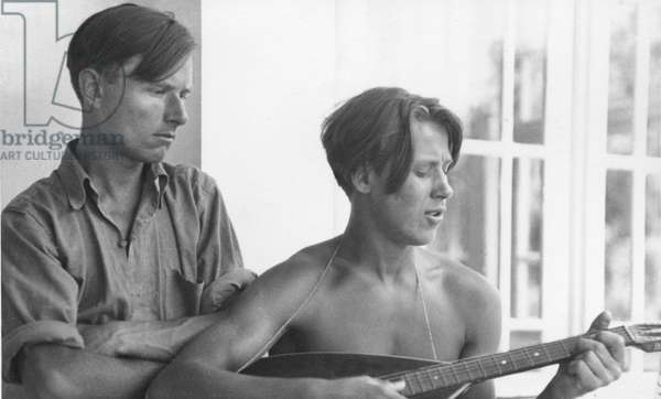 Christopher Isherwood with boyfriend (b/w photo)