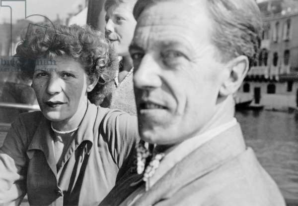 Cecil Day-Lewis on a boat in Venice during the PEN Conference, 1949 (b/w photo)