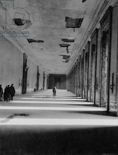 Marble gallery in the ruins of Hitler's Reich Chancellery, Berlin, July 1945 (b/w photo)