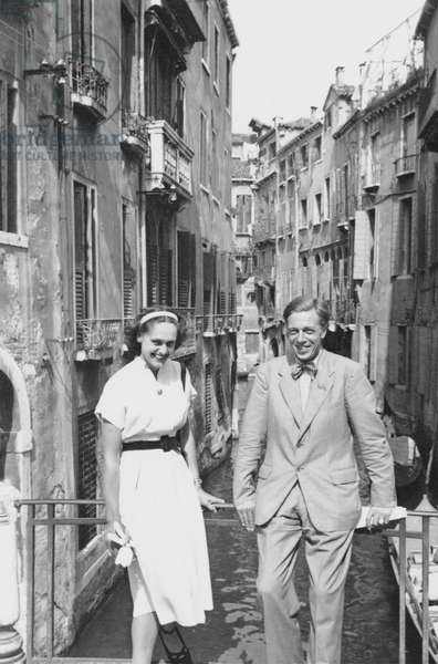 Natasha Spender and Cecil Day-Lewis in Venice for the PEN Conference, 1949 (b/w photo)