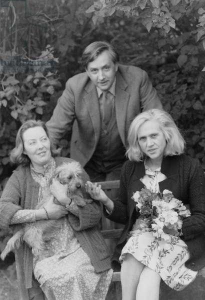 Peter Levi, Deirdre Levi, and Natasha Spender (b/w photo)