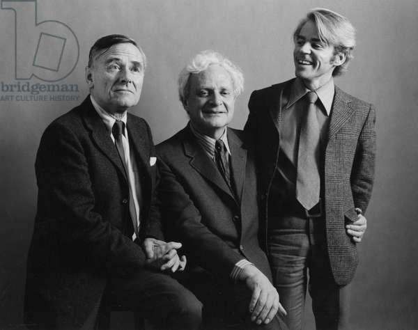 Christopher Isherwood, Stephen Spender and Don Bachardy, 1970 (b/w photo)