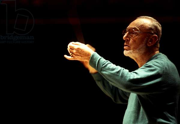 Michael Gielen conducting  in Paris, 1998. Austrian conductor and composer b. 20 July 1927-.