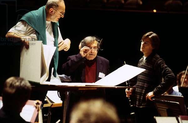 Michael Gielen, Luciano Berio et Paul Meyer (photo)